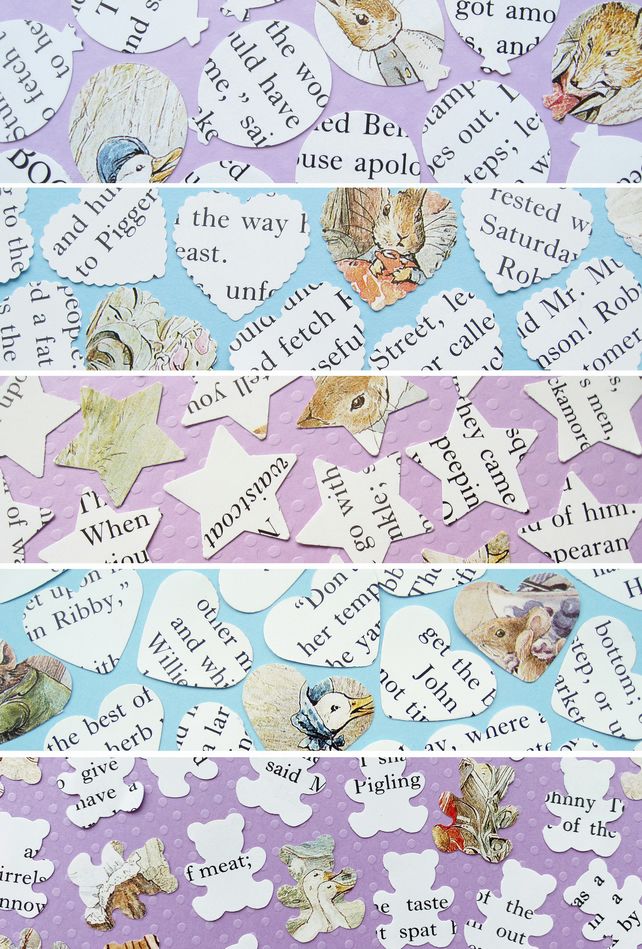 100 Beatrix Potter Confetti - 5 shape choices - Baby Shower Christening Party