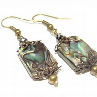 Bronze Abalone Antique Style Earrings