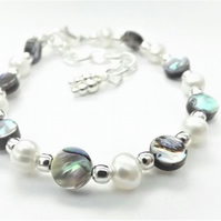 Abalone and Pearl Beaded Bracelet.