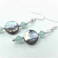 Abalone and Pacific Green Opal Swarovski Crystal Drop Earrings.