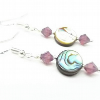 Abalone and Purple Opal Swarovski Crystal Drop Earrings.