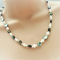 Abalone and Pearl Beaded Necklace.