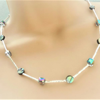 Abalone and Crystal Square Beaded Necklace.