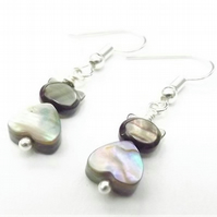 Abalone Heart Shape Cat Earrings