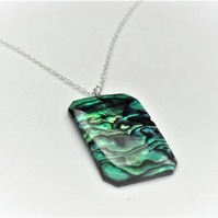 Green Rectangular Abalone Shell Pendant.