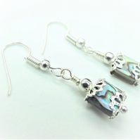 Tiny Abalone Square Earrings.