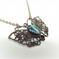 Blue Abalone Butterfly Necklace