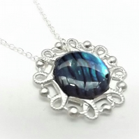 Blue Abalone Circle Pendant