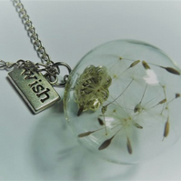 Dandelion Globe Wish Necklace and Earring set.