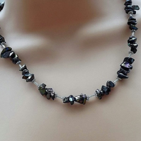 Rainbow Black Glass Chip necklace with Silver Coloured Tube Spacers.