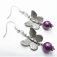 Butterfly and Purple Bead Drop Earrings
