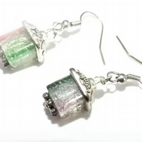 Pink and Green Watermelon Crackle Cube Beaded Dangle Drop Earrings.