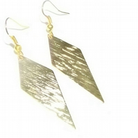 Textured Cheveron Earrings. 16K Gold plated drop earrings.