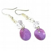 Purple Shell and Crystal Earrings. Dangle Earrings. Silver Plated.