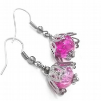 Cerise Pink Glass Bead and Black Earrings.