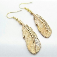 Golden Feather Earrings - South Western style earrings,  American Indian Feather