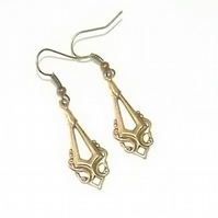 Art Deco Drop Earring made with Filigree Work Decorative Brass.