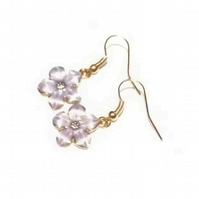 Lilac Enamel Flower Earrings. Purple Drop Earrings. Rose Gold Tone Earrings.