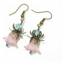 Wild Flower Lucite Drop Earrings in Pink and Turquiose Blue