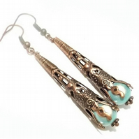 Red Copper and Light Blue Green Miracle Bead Dangle Earrings