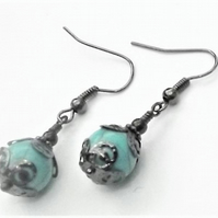 Turquoise and Black Earrings. Turquoise Gemstone earrings. Black Earrings. Beade