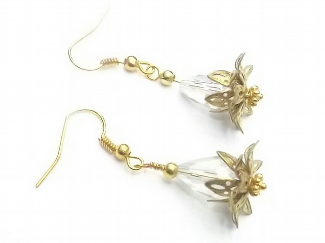 Crystal Bead with Gold Plate Waterlily Earrings.