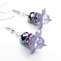 Purple Flower Daisy Beaded Drop Earrings.