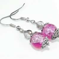 Two Tone Pink and Lilac Crackle Glass Earrings.