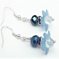 Lucite Blue Flower Bead Earrings.