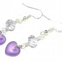Purple Sea Glass and Crystal Heart earrings. Dangle earrings.
