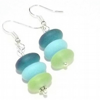 Seaglass Earrings in Shades of Blue Rondelles.