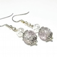 Two Tone Light Lilac and Grey Crackle Glass Earrings. Silver plated.