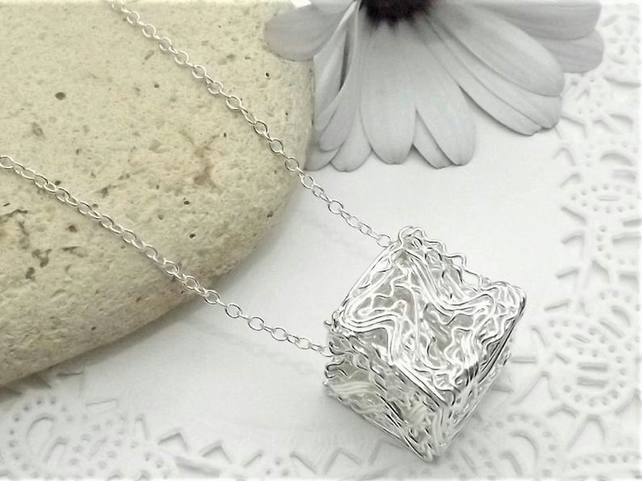 Silver Tone Wire wrapped Cube Pendant. Wire Jewellery. Geometric Pendant.