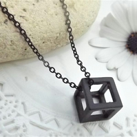 Black Geometric 3D Cube Necklace. Layering Necklace. Black Jewellery.