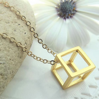 Geometric 3D Cube Necklace. Gold Plate. Layering Necklace. Mathematical Pendant.