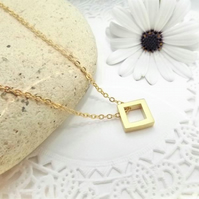 Geometric Square Necklace. Layering Necklace. 24K Matt Gold Plate.
