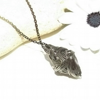 Black Wire wrapped Kite Shaped Pendant. Wire Jewellery. Geometric Pendant