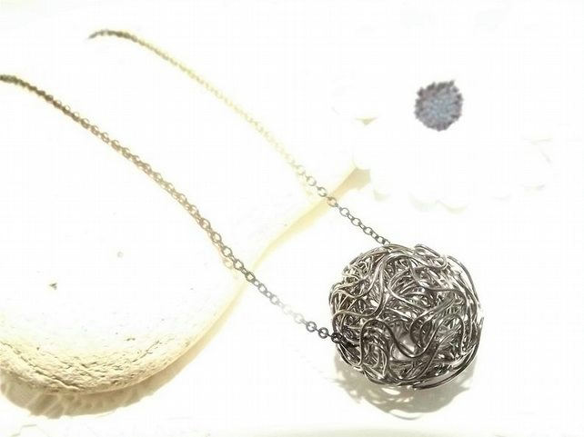 Black Wire wrapped Sphere circle Pendant. Wire Jewellery. Geometric Pendant.