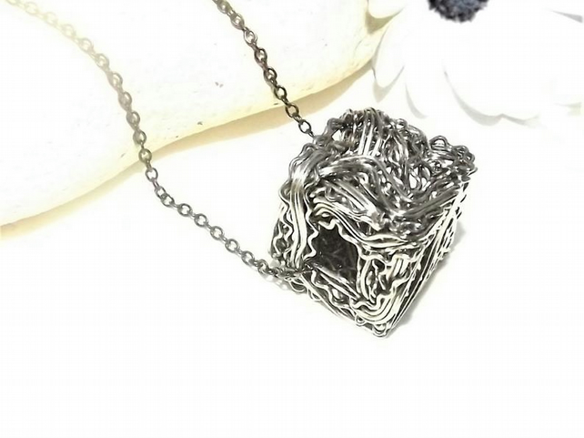 Black Wire wrapped Cube Pendant. Wire Jewellery. Geometric Pendant