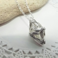 Silver Tone Wire wrapped Kite Shaped Pendant. Wire Jewellery. Geometric Pendant