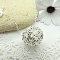 Silver Tone Wire wrapped Sphere circle Pendant. Wire Jewellery.
