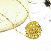 Gold Tone Wire wrapped Sphere circle Pendant. Wire Jewellery.