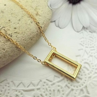 Gold Plated Geometric Rectangle Necklace Pendant. Minimalist Jewellery.