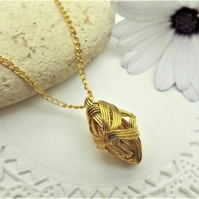 Gold Tone Wire wrapped Kite Shaped Pendant. Wire Jewellery. Geometric Pendant.