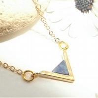 Blue Lapis Lazuli Gemstone Triangle Pendant Necklace. Tiny Layering Pendant.