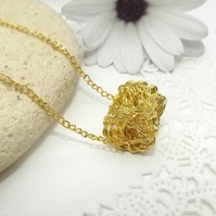 Gold Tone Wire wrapped Cylinder Pendant. Wire Jewellery. Geometric Pendant.
