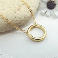Geometric Circle Necklace Pendant. Minimalist Jewellery.