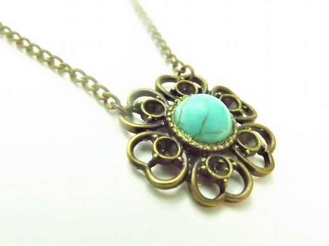 Turquoise Blue Howlite Flower, Pendant Necklace. Gemstone Pendant.