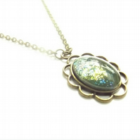 Green Glittery Glass Cabochon Necklace in Brass Flower Setting