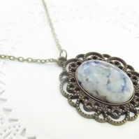 Blue and White Agate Cameo Set pendant. Brass Antique Style Necklace.